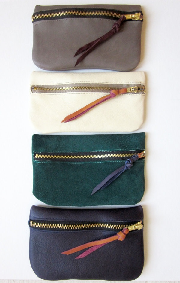 Zipper Pouch /// Taupe Leather. $47.00, via Etsy.