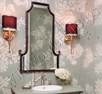 Curled-Bamboo-Wall-Mirror-Antique-Black-Gold-Foyer-Beveled-Asian-Inspired-Metal