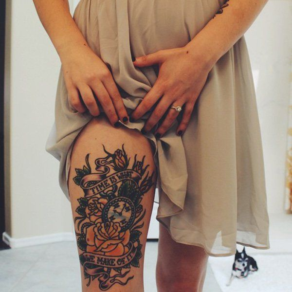 Leg Tattoo - Women's hips are also perfect for large tattoo in the traditional American style. Tattoos in color looks the best on this part of a body. The more colorful picture, the better