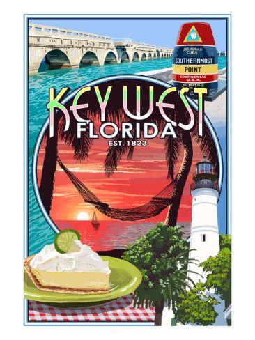 Key West, Florida - Montage Art Print.  Loved my first visit to this beautiful place, November, 2012, with hubby & our Corvette Club.