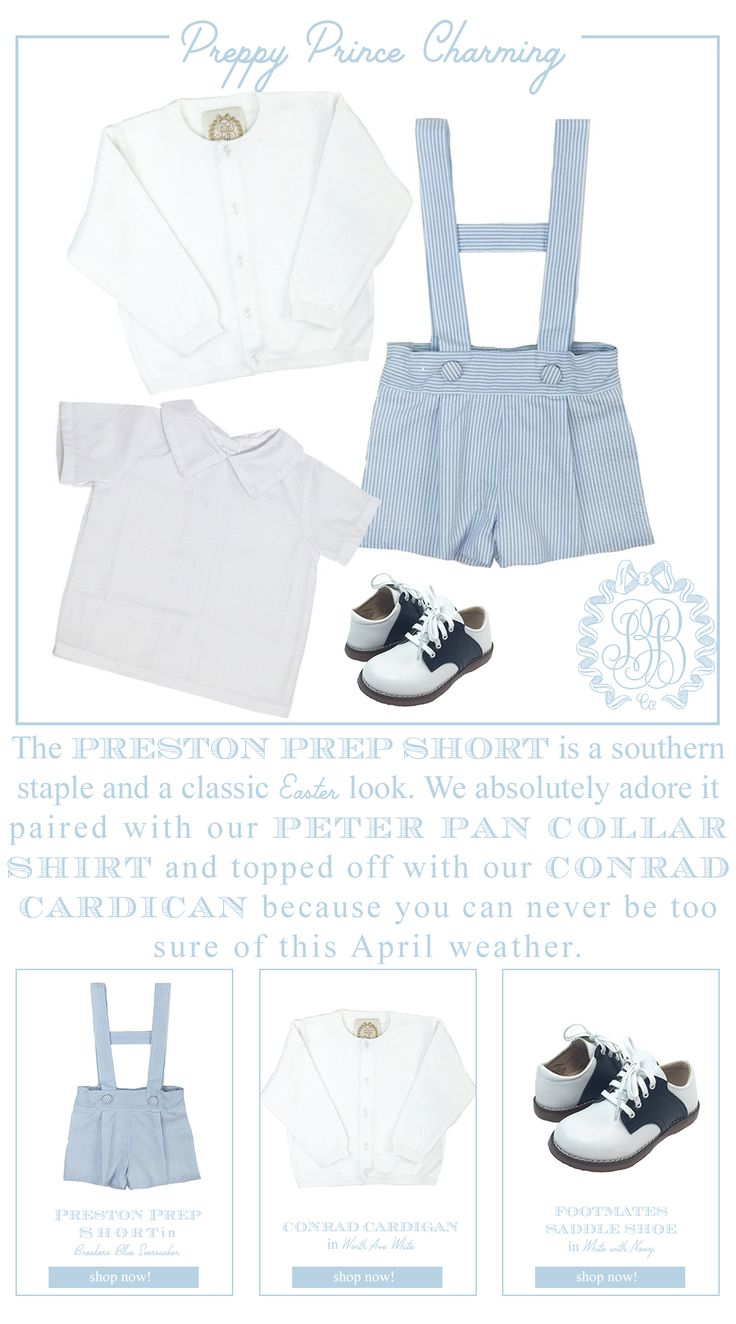 The Preston Prep short is a southern staple and a classic Easter look   We absolutely adore it paired with our peter pan collar shirt and Conrad Cardigan because you can never be too sure of April weather   The Beaufort Bonnet Company