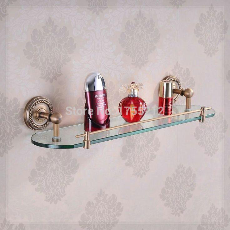 Купить товарБесплатная доставка античная бронзовая латунь один ярус стеклянная полка аксессуары для ванной комнаты полки для хранения настенных HJ 1313F воды в категории Полки для ваннойна AliExpress.            &
