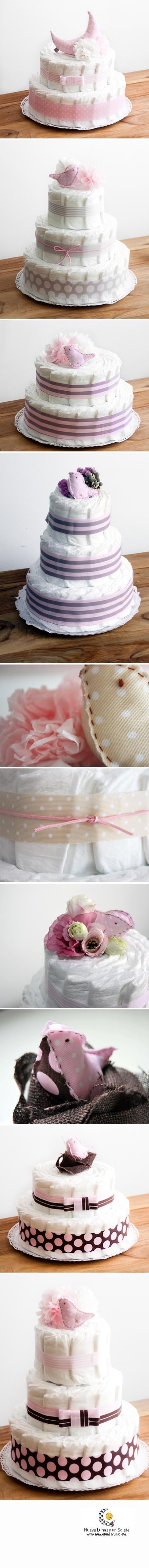 Tartas de pañales en tonos rosas  de www.nuevelunasyunsolete.com