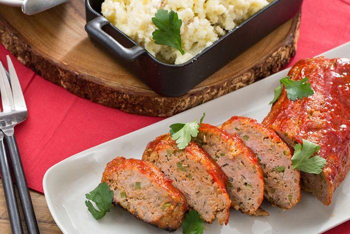 Turkey Meatloaf with Creamy Mashed Potatoes & Sautéed Snap Peas