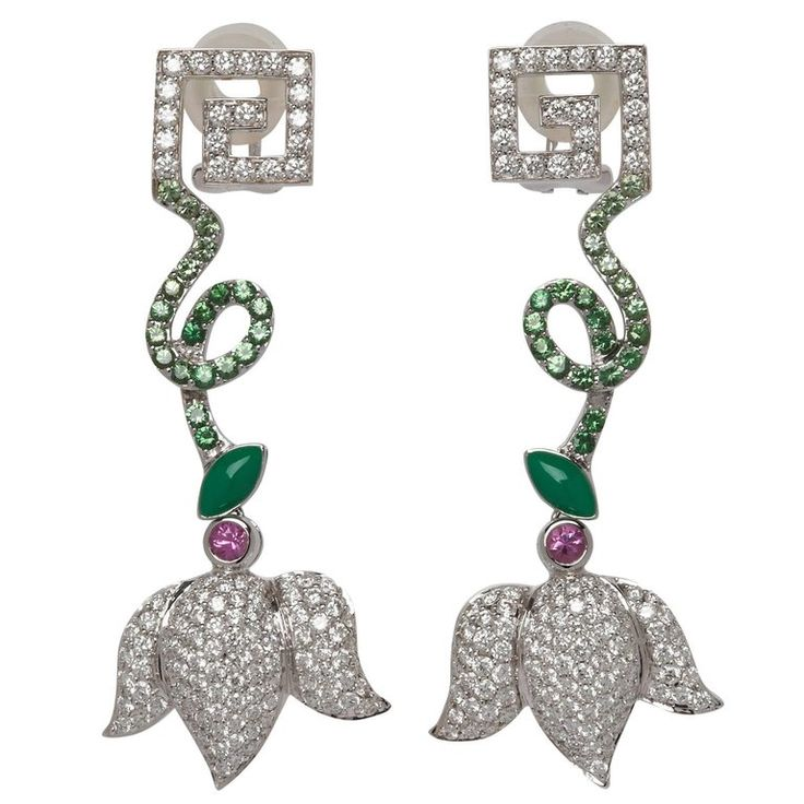 Greek Key Diamond, Pink Sapphire and Tsavorite Garnet Drop Earrings