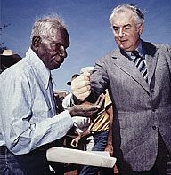 Protesting for equal wages Aboriginal stockmen walked off Wave Hill pastoral station in the Northern Territory in 1966. Little did the white station owners know that the strike would become a precursor to land rights legislation almost 10 years later.   Source: http://www.creativespirits.info/aboriginalculture/politics/aboriginal-people-strike-walk-off-at-wave-hill#ixzz3jUgfBYWD