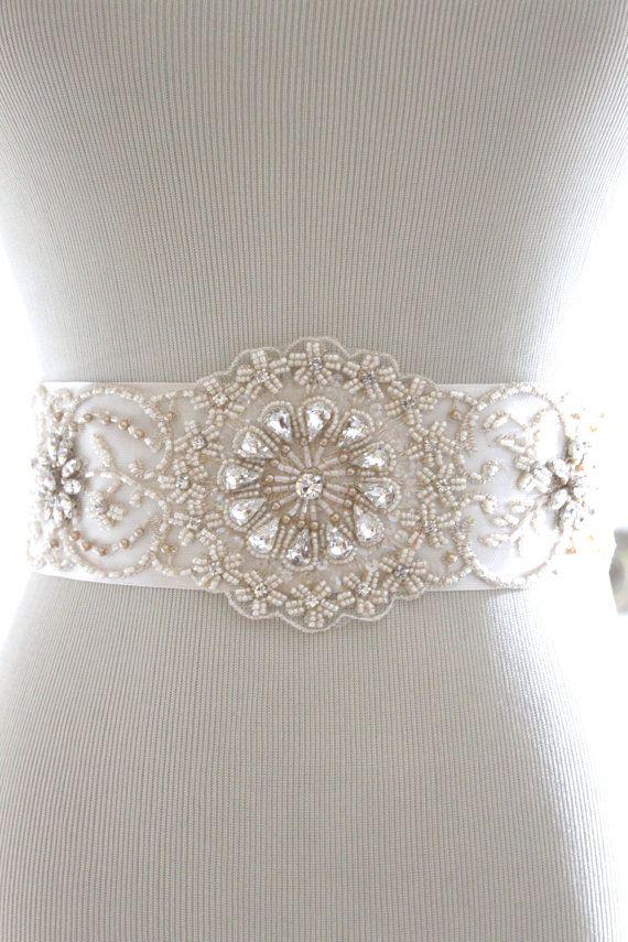 Beaded Bridal Gown Sash Bridal Sash Beaded Sash by LaBlancFleur, $169.00