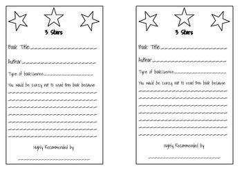 Students can use this quick and easy book recommendation form to recommend a good book to their classmates. I have a bulletin board that has star fabric on it with shiny boarder. My students fill these papers out, make them colorful, and post for others to read.
