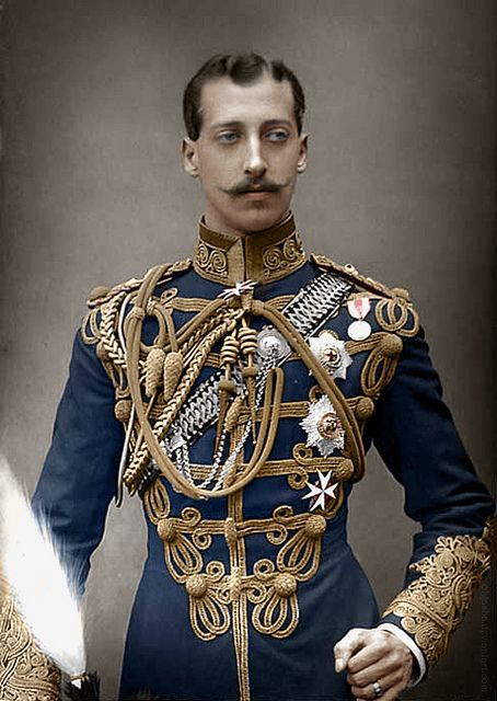A colorized photograph of Prince Albert Victor, Duke of Clarence, in the uniform of the 10th Hussars. W.  D. Downey, photographers (Ebury Street, London).