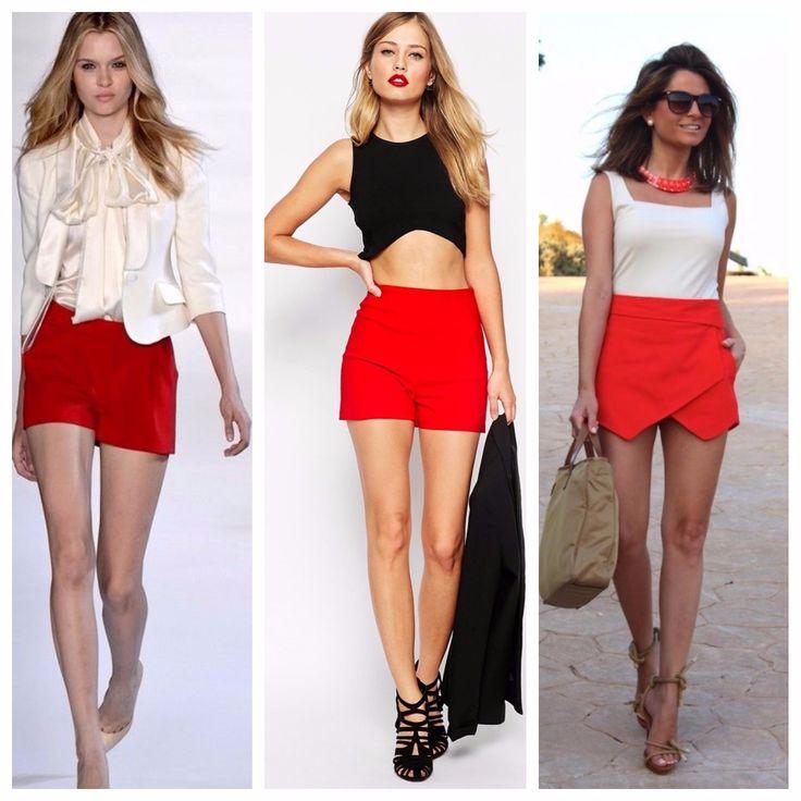 С чем носить женские красные шорты? Луки с шортами .
