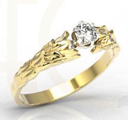Pierścionek z żółtego złota z cyrkonią / Ring made from yellow gold with zircon / 691 PLN / #jewellery #ring #gold #zircon #art #design