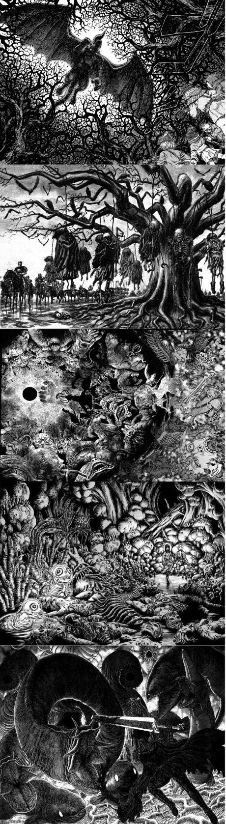 Artwork from Kentaro Miura for Berserk. Simply beautiful.