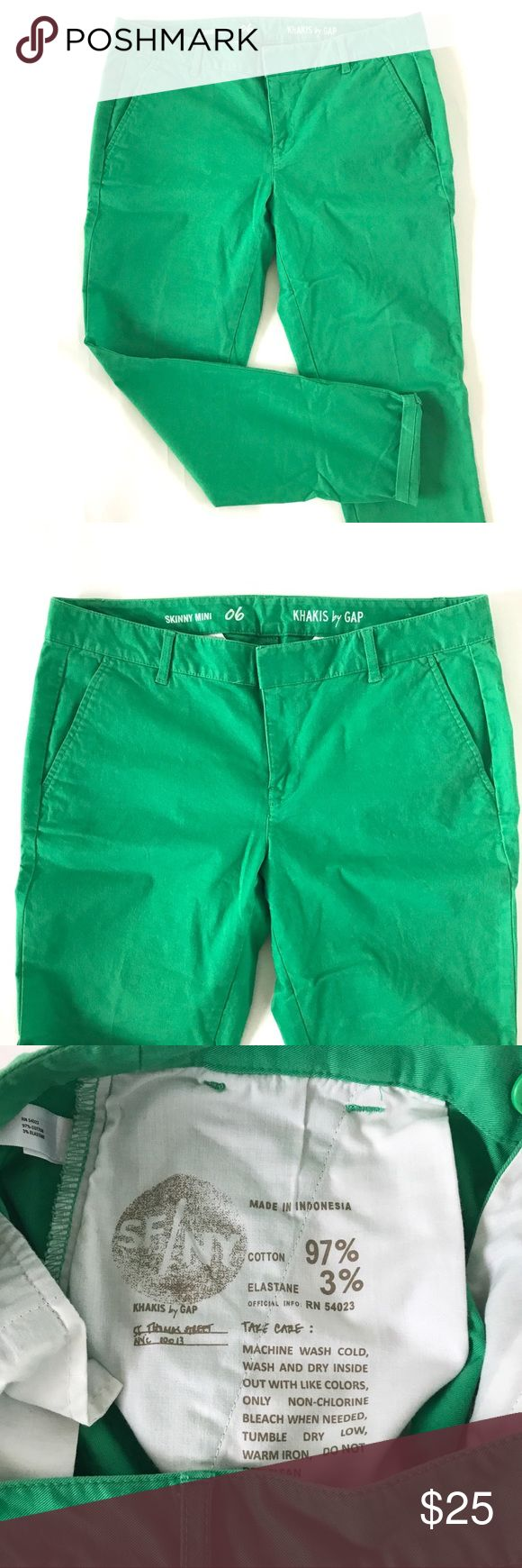 "GAP Skinny Mini Green Skinny Khaki Pant Waist 15.5"", rise 8.5"", inseam 27"". Excellent condition. Super cute and comfortable stretch skinny khakis! GAP Pants Skinny"