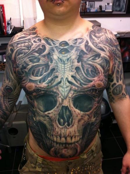 Full Chest Tattoos Skull: 36 Best Skull Stomach Tattoo Designs Images On Pinterest