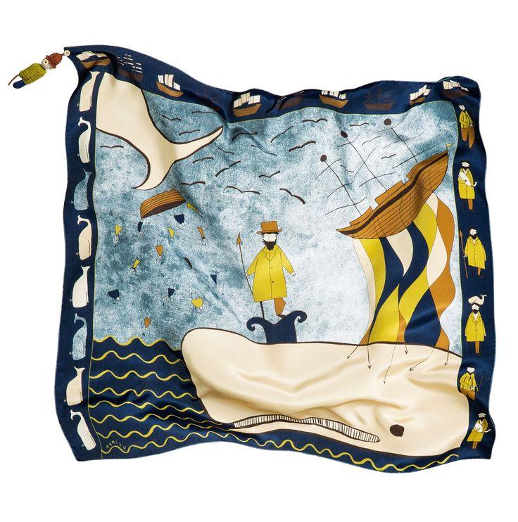 "rumisu silk scarf with ""Moby Dick"" print..."