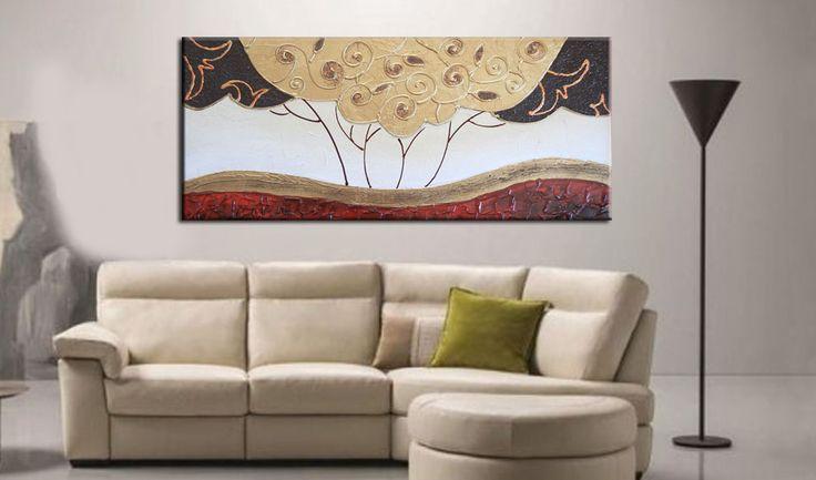 Quadro paesaggio moderno stilizzato dipinto su base stuccata con particolari effetti materici che delineano il quadro… un paesaggio… ma anche astratto!