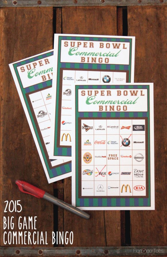 2015 Super Bowl Commercial Bingo - Free Printables!