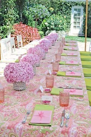 beautiful spring table sorority luncheon; long table design, simple flower runner
