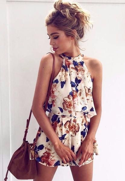 Fashion Flower Print Halter Shirt Top Tee Shorts Set Two Piece