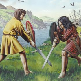 Fighting in Scotland: symbolic of Romulus and Remus' iconic and mythological founding fight. Painting.