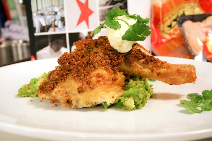 Cheesy Pretzel Crusted Chicken On Smashed Peas. By Chef Simon Gault