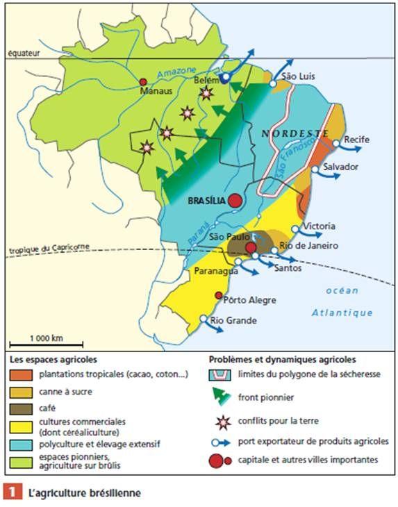 Carte Du Bresil Agriculture.L Agriculture Bresilienne Le Bresil Etude Geographique