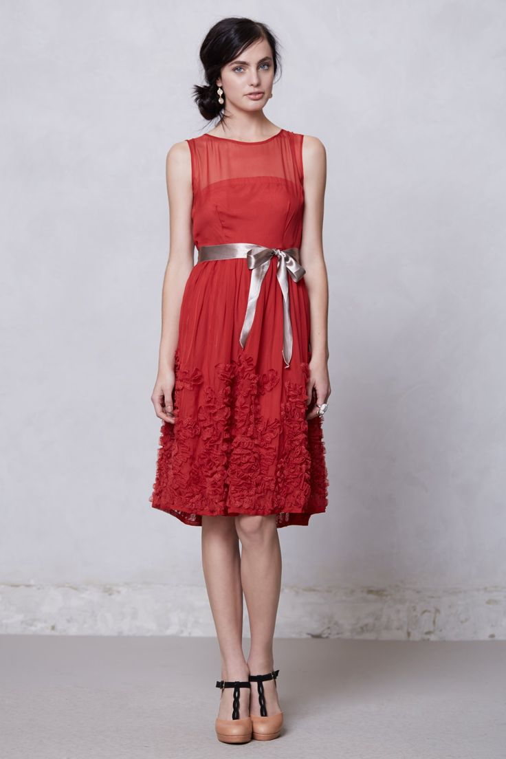 Caridad Ruffled Dress - Anthropologie.com. How pretty is this dress?! It could easily be dressed up or down, with flats and a cute cardi for touring during the day, and some pretty heels and bling for the evening. That's it- you're ready to go mate!