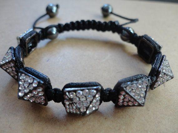Crystal Paved Pyramid Shamballa Bracelet on Etsy, $13.87