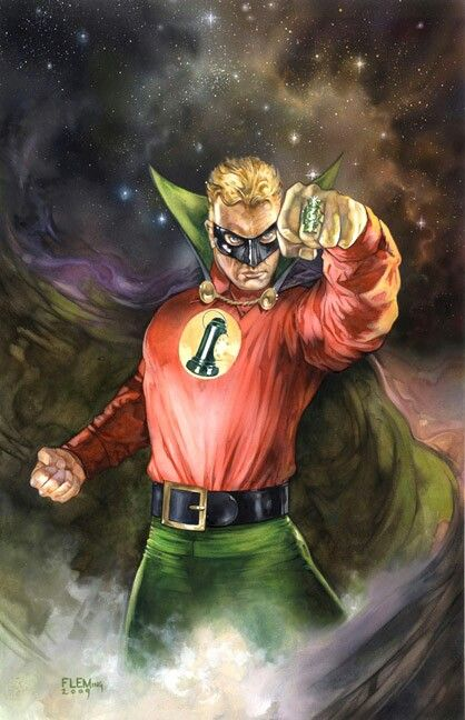 """Green Lantern (Alan Scott) The first to bear the name Green Lantern a founding member of the """"Justice Society of America"""" First appearance All-American Comics #16 July 1940 First Modern age  appearance Created by Martin Nodell  AbilitiesSkilled hand to hand combatant Power ring grants: Flight Green light projection Invulnerability to any weapon not made of wood Solid light construct generation Mystical tracking Longevity"""