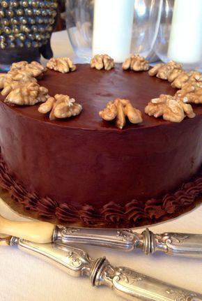tarta de nueces y ganache de chocolate