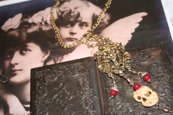 Elephant jewelry Cherub jewelry Cherub necklace  Bone