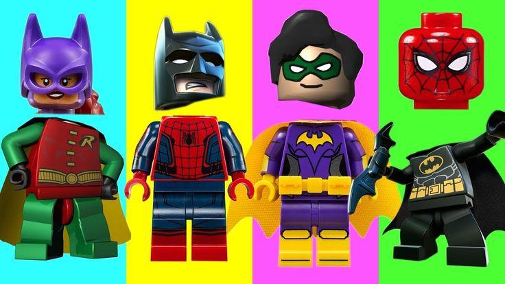 Wrong Heads Lego Spiderman Batman Batgirl Robin Finger Family Nursery Rhymes For Kids Toddlers