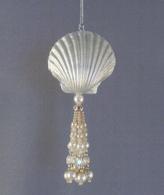 Unique Shell and Pearls Christmas Ornament Decoration on Etsy, $10.00