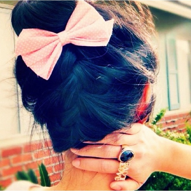 braided bun with a bow, so cute!