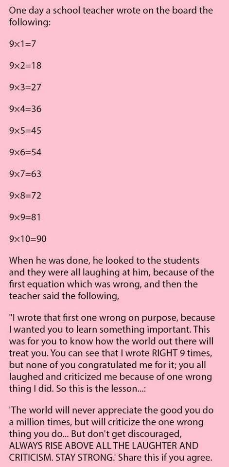 A teacher's lesson