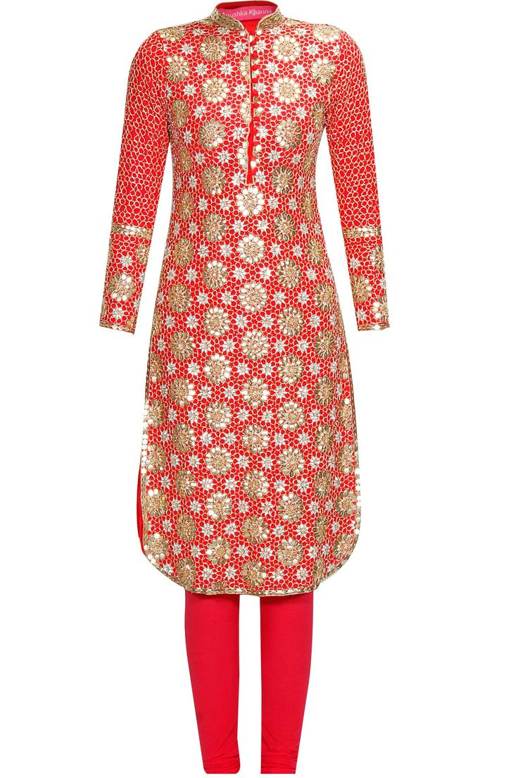 Red floral pattern sequins embroidered straight kurta set available only at Pernia's Pop Up Shop.#perniaspopupshop #shopnow #anushkakhanna#partyseason #happyshopping #designer #clothing #festive #weddings