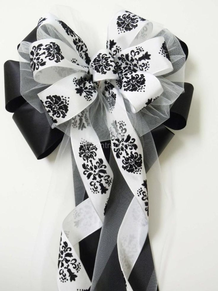 Black White Damask Wedding Pew Bow Arch by SimplyAdornmentsss, $9.95