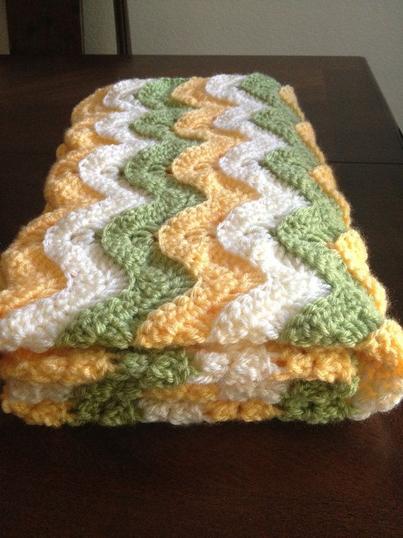 Crochet Ocean Waves Baby Blanket by Miyasbabyblankets on Etsy, $50.00