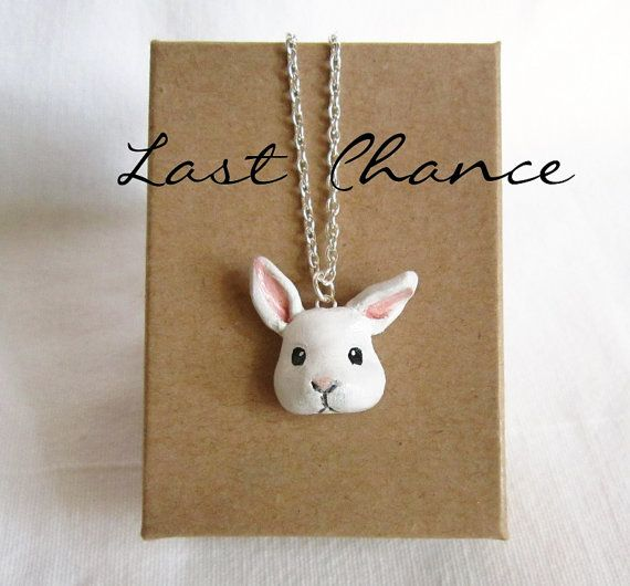 Bunny Necklace White Bunny Polymer Clay jewelry by FlowerLandShop
