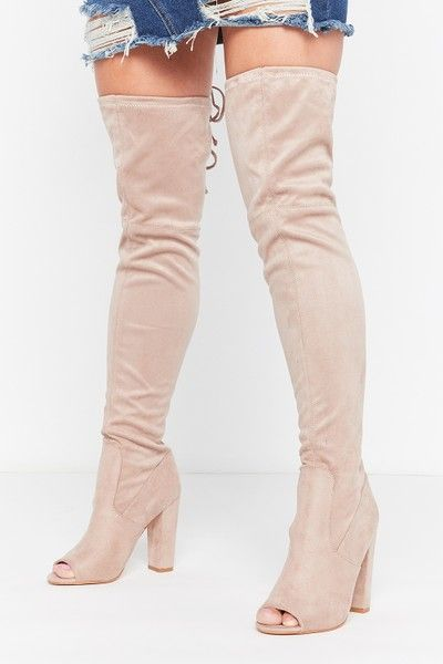 Kira Taupe Faux Suede Peep Toe Over The Knee Boots