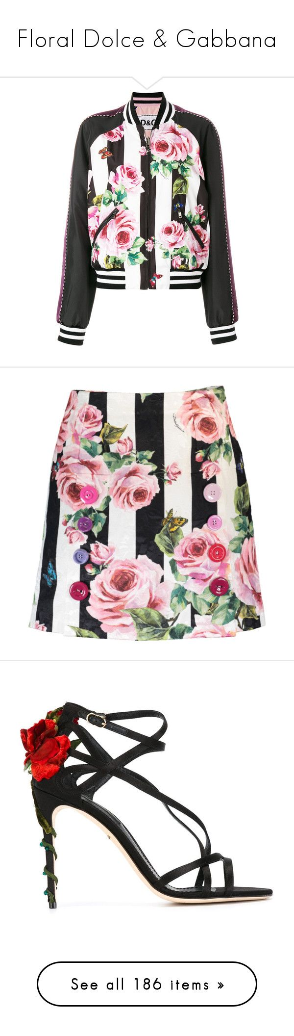 """""""Floral Dolce & Gabbana"""" by luxury-naznaz ❤ liked on Polyvore featuring outerwear, jackets, black, flower jacket, flight jackets, floral bomber jackets, floral print bomber jacket, ruffled jackets, skirts and zip skirt"""