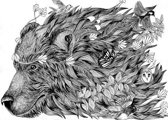 Spirit Bear Original Illustration Forest Nature Ink A3 Print