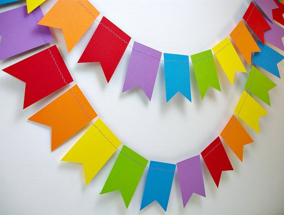 Rainbows Petite Flags 6ft. Garland *** Rainbow Birthday Party, Classroom Decor, Rainbow Nursery Decor ***