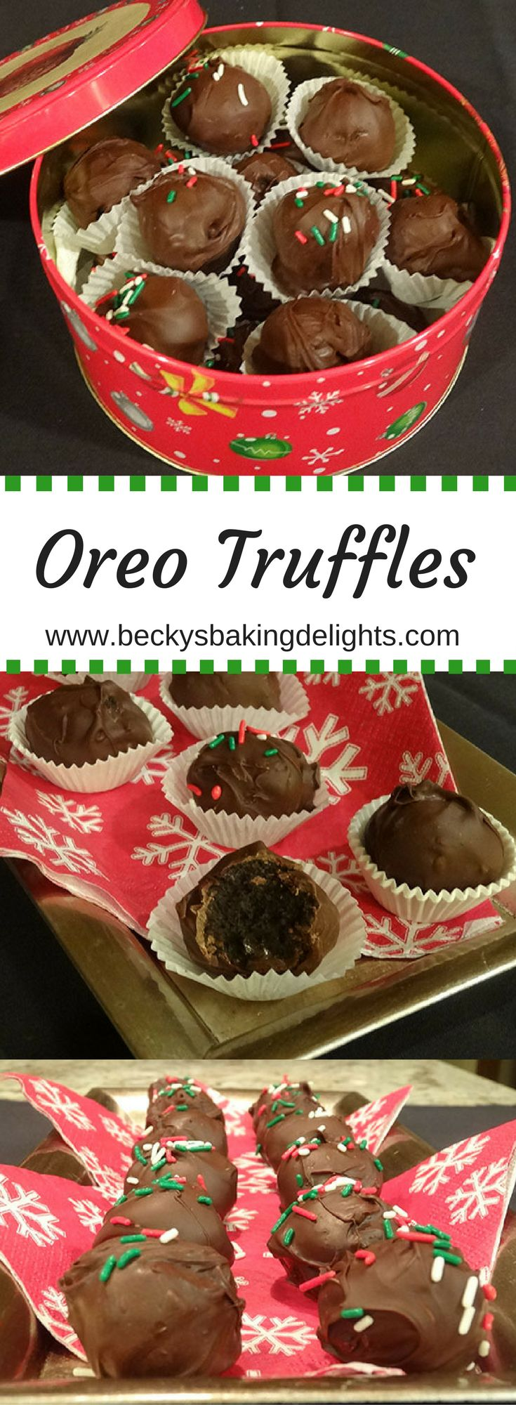 Oreo truffles have a soft chocolate center and are dipped in chocolate. Just three ingredients and no baking required!