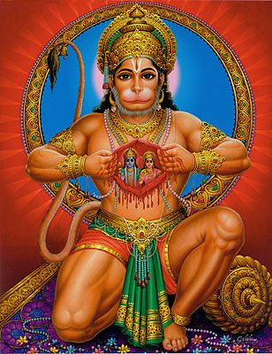 Hanuman is a Hindu monkey god famed for strength, speed,  his skills as a grammarian, but above all, he's an unsurpassed adherant of bhakti, or the yoga of devotion. In his most famous story, a courtier asked him to prove his devotion to his king Rama and his wife Sita. Hanuman tore open his chest and there was RamaSita imprinted on his heart.