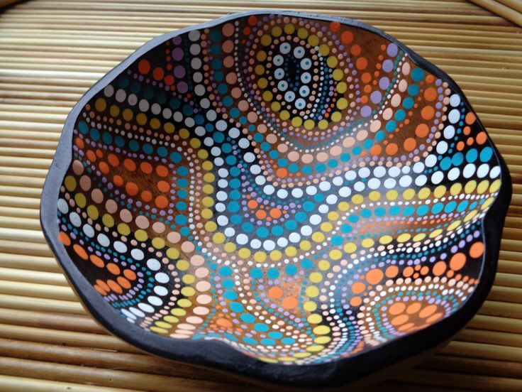 Dot Painted Wooden Bowl Jewelry Dish By Natureparadise