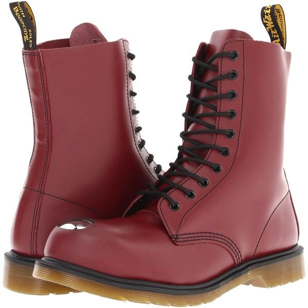 Dr. Martens Maine Steel Toe Cap Boot Lace-up Boots (€59) ❤ liked on Polyvore featuring shoes, boots, ankle booties, red, safety toe caps, steel toe cap boots, lace-up ankle booties, safety toe boots and cap toe boots