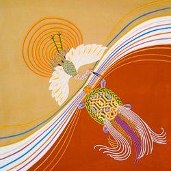 鮮やかな鶴亀のふろしき #japan #和
