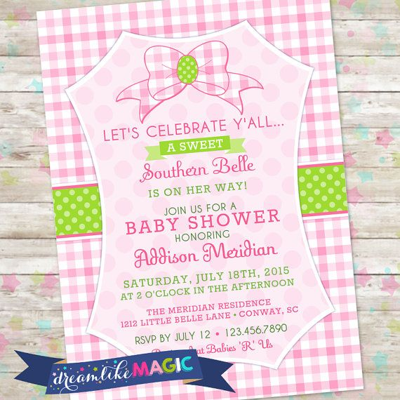 Southern Belle Baby Shower Invite Southern Baby by DreamlikeMagic
