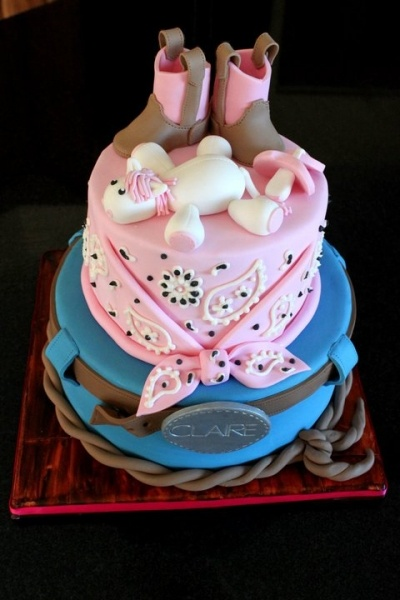 Love the pink layer.. hate the other layer. Cowboy Baby Shower By caketopia on CakeCentral.com
